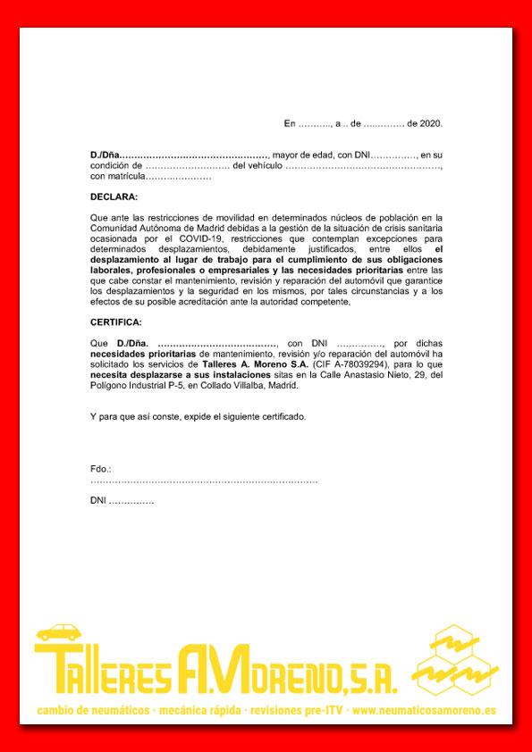 Neumáticos A. Moreno: Justificante desplazamiento restricciones de movilidad COVID-19
