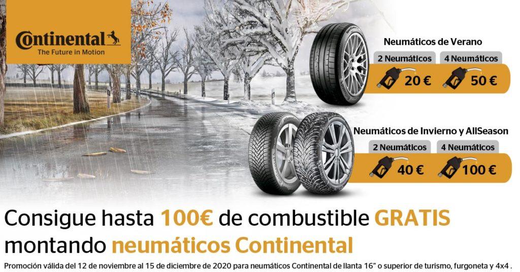 Consigue hasta 100€ de combustible GRATIS montando neumáticos Continental